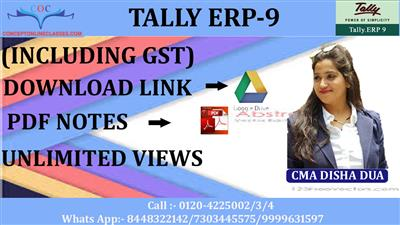 TALLY ERP-9 (INCLUDING GST)  (D-LINK + PDF NOTES)  4 MONTHS