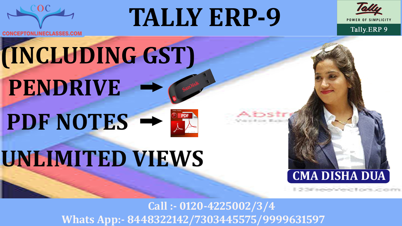 TALLY ERP-9 (INCLUDING GST) (PENDRIVE+PDF NOTES)